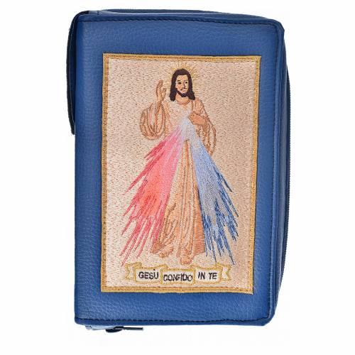 Funda Biblia Jerusalén Nueva Ed. azul simil cuero Divina Misericordia s1
