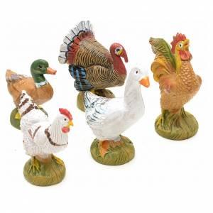 Animales para el pesebre: Gallinas 5 piezas Fontanini 19 cm