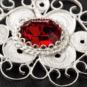Gancio piviale filigrana argento 800 tondo pietra rossa s4
