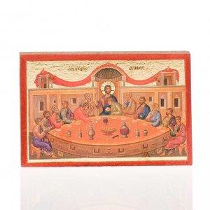 Holz, Stein gedruckte Ikonen: Gedruckte Ikone Jesus, maria, letzte Abendessen, Dreieinigkeit