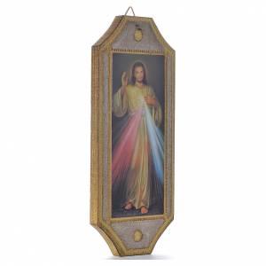 Bilder, Miniaturen, Drucke: Geformte Tafel auf Holz Göttliche Barmherzigkeit 18,5x7,5 cm