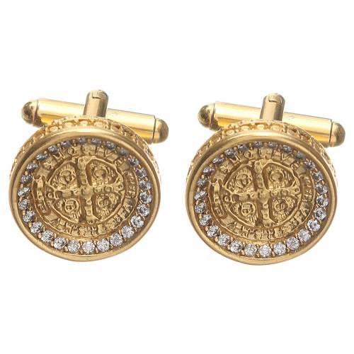 Gemelos para camisa plata 800 dorada Cruz de San Benito 1,7 cm s1