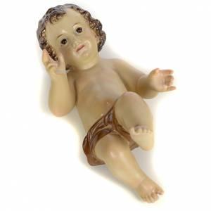 Gesù Bambino 25 cm in pasta di legno dec. brunita s3