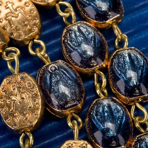 Ghirelli golden rosary blue medal beads s2