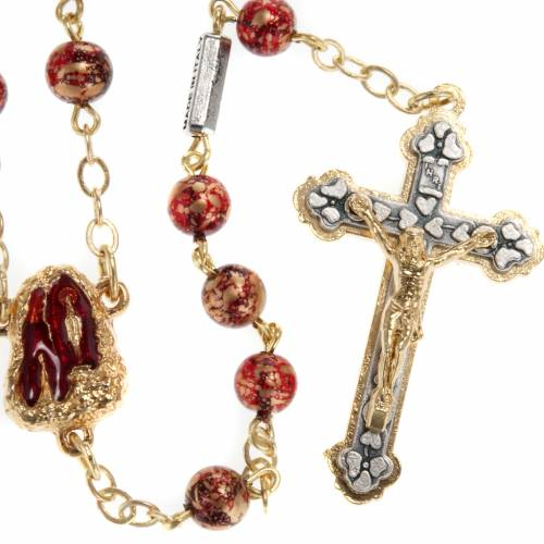 Ghirelli red-gold rosary Lourdes Grotto 6mm s1