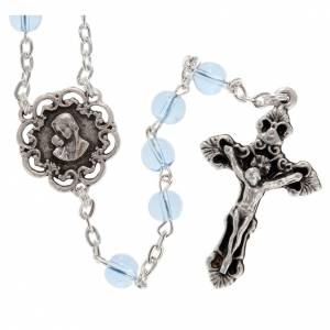 Ghirelli collection rosary beads: Ghirelli rosary beads light blue glass, roses 6mm