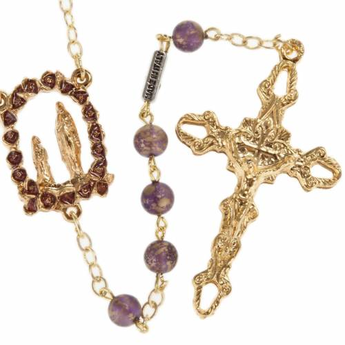 Ghirelli rosary, gold purple glass Lourdes grotto 6mm s1