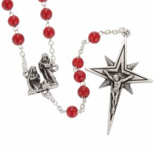 Ghirelli collection rosary beads: Ghirelli rosary Nativity and Bethlehem Star in red glass 6 mm