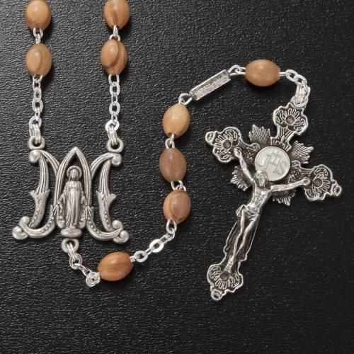 Ghirelli rosary, olive wood Marian symbol 5x7mm s2