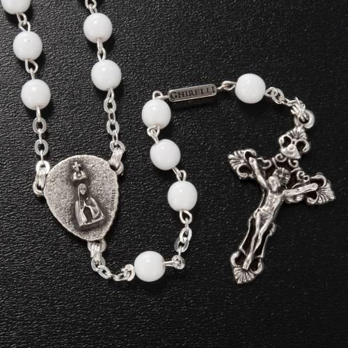 Ghirelli rosary, white round glass beads, Fatima s2