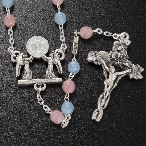 Ghirelli rosary with Bohemia glass pink and light blue 6 mm s2