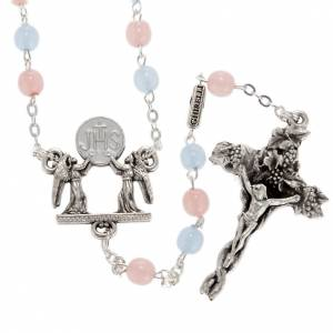 Ghirelli collection rosary beads: Ghirelli rosary with Bohemia glass pink and light blue 6 mm