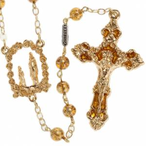 Ghirelli yellow rosary Grotto of Lourdes 6 mm, golden-plated s1