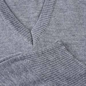 Gilet collo V grigio chiaro maglia unita s3
