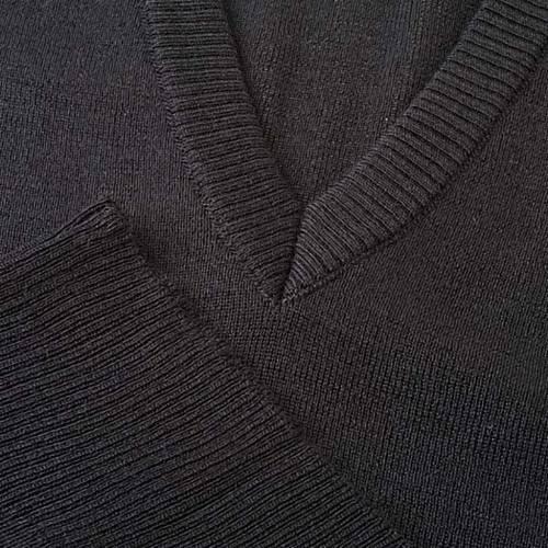 Gilet collo V nero maglia unita s3