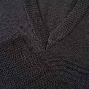 Vestes, gilets, pullovers: Gilet, ouverture en V, noir