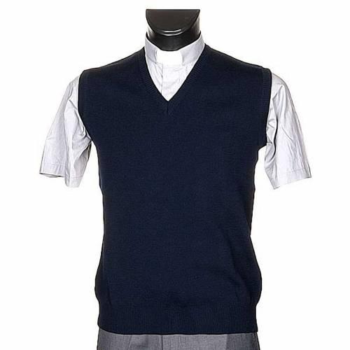 Gilet collo V blu maglia unita s1