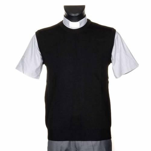 Gilet girocollo maglia unita nero 1