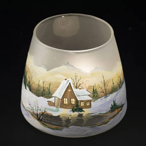 Glass candle holder, Christmas landscape, snow s5