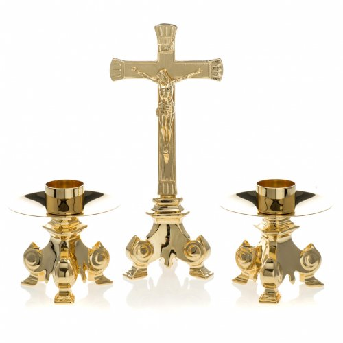 Gold-plated altar set, crucifix and candle holder<br> s1