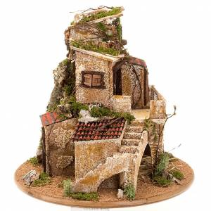 grotte pour crèche avec village illuminé, 30x42x30 s7
