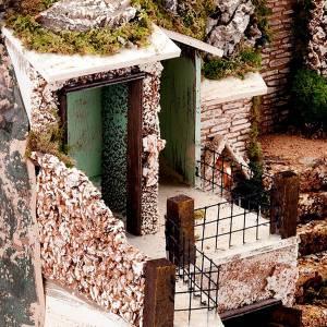 grotte pour crèche,escalier, fontaine et village, 60x40x5 s2