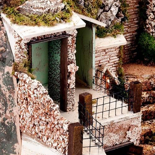 grotte pour crèche,escalier, fontaine et village, 60x40x5 2