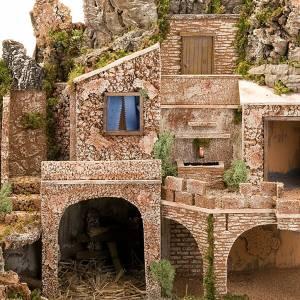 grotte pour crèche, fontaine et village illuminé, s9