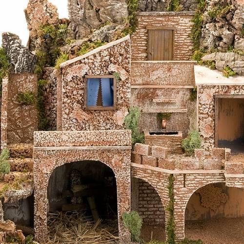 grotte pour crèche, fontaine et village illuminé, 9