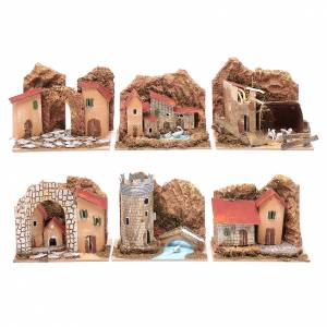 Settings, houses, workshops, wells: Group of little coloured houses - set of 6 pieces 15x10x10 cm