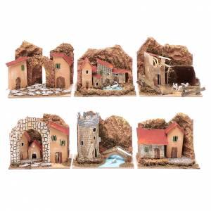 Maisons, milieux, ateliers, puits: Groupe maisons colorées set 6 pcs 15x10x10 cm