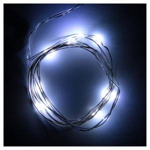 Guirlande Noël 10 lumières leds goutte blanc froid piles s2