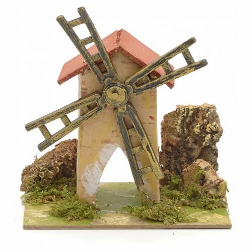 Moulin à vent pour crèche 15x10 cm s1