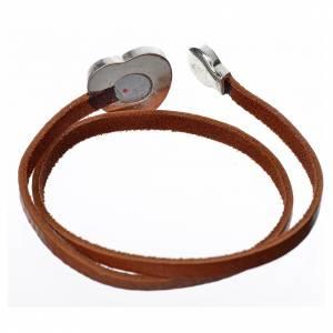 Sonstige Anhänger: Halskette hell braunen Leder mit Schild