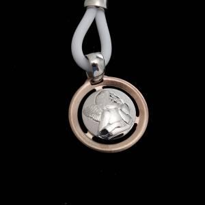 Anhänger, Kreuze, Broschen: Halskette Medaille mit Engel 925 Silber