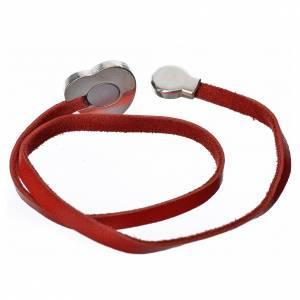 Sonstige Anhänger: Halskette roten Leder mit Schild