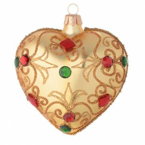 Christmas balls: Heart Shaped bauble in gold blown glass with stones 100mm