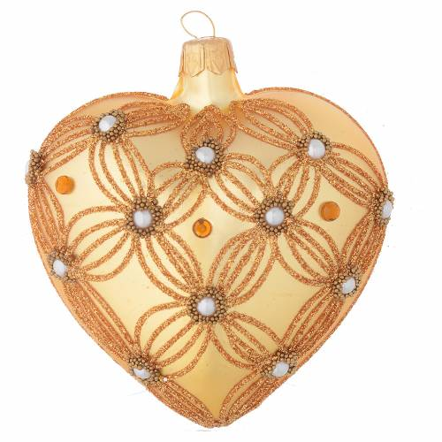 Heart Shaped Christmas bauble in gold blown glass with decorations in relief 100mm s1