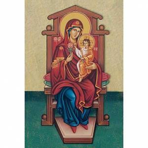 Heiligenbildchen: Heiligenbildchen Maria mit Kind auf Thron