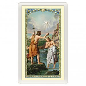 Holy cards: Holy card, Baptism of Jesus, Prayer to Saint John the Baptist ITA 10x5 cm