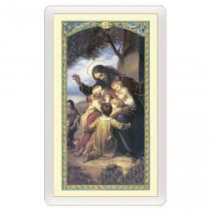 Holy cards: Holy card, Jesus with children, Young Athlete's Prayer ITA, 10x5 cm