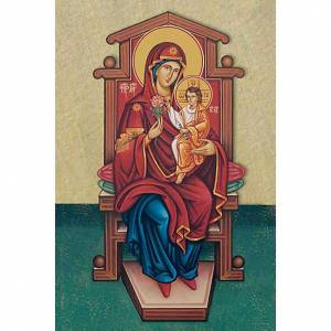 Holy card, Our Lady with baby on the throne s1