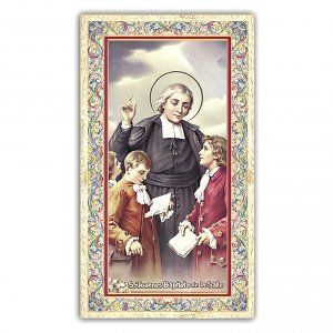 Holy cards: Holy card, Saint Jean-Baptiste de la Salle, Educator's Prayer ITA, 10x5 cm