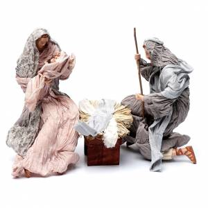 Nativity sets: Holy family in resin with stool and cradle country style 45 cm
