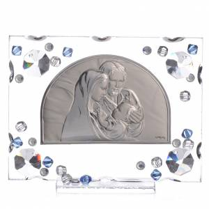 Bonbonnière: Holy Family picture, wedding favour with blue Swarovski