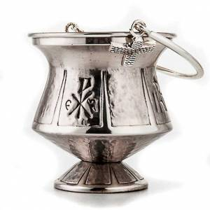 Holy water pot, hammered brass s2