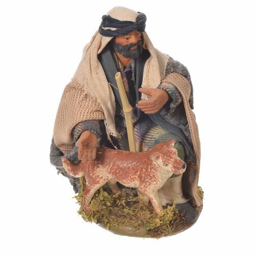 Homme agenouillé avec chien 12 cm crèche Naples s1