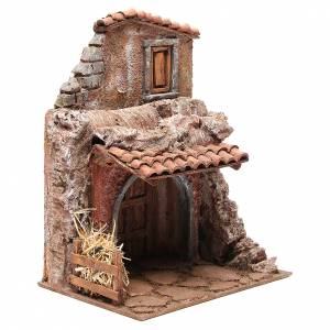 House with stable for nativity 30x24x18cm s3