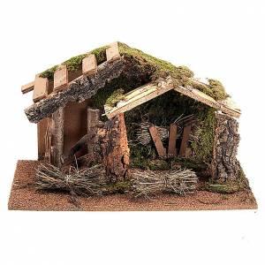 Krippe Hütten und Grotten: Huette Krippe leer doppelte Dach und Heu-Bundel 43x24x25