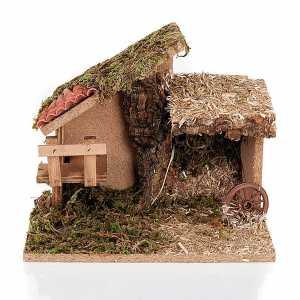 Krippe Hütten und Grotten: Huette Krippe Moos Kork mit Treppe 24x16x21